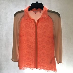 Ted Baker size 0 Neon Orange Lace Front Blouse